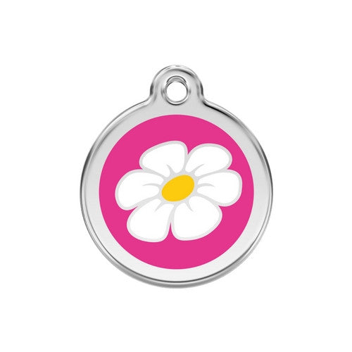 Red Dingo DAISY Engraved Stainless Steel Enamel Dog ID Tag Medium Hot Pink