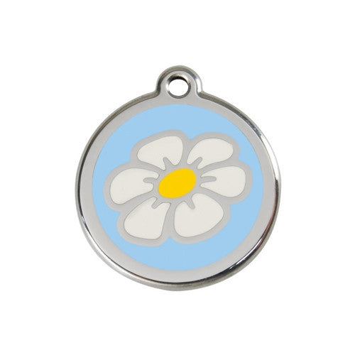 Red Dingo DAISY Engraved Stainless Steel Enamel Dog ID Tag Medium Light Blue