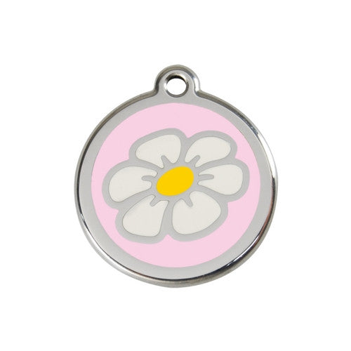 Red Dingo DAISY Engraved Stainless Steel Enamel Dog ID Tag Medium Pink