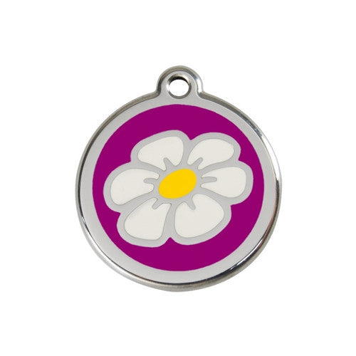 Red Dingo DAISY Engraved Stainless Steel Enamel Dog ID Tag Medium Purple