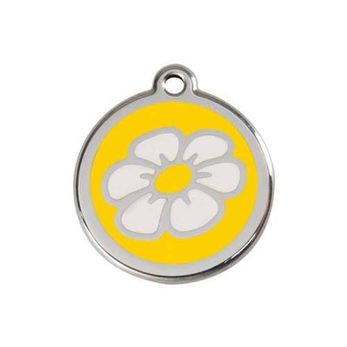Red Dingo DAISY Engraved Stainless Steel Enamel Dog ID Tag Medium Yellow