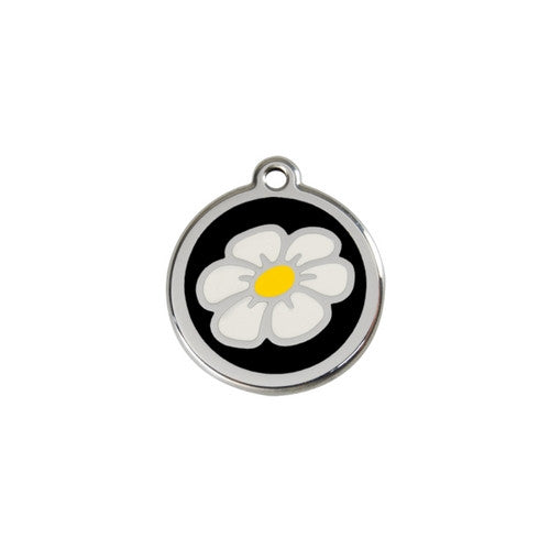 Red Dingo DAISY Engraved Stainless Steel Enamel Dog ID Tag Small Black