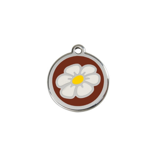 Red Dingo DAISY Engraved Stainless Steel Enamel Dog ID Tag Small Brown
