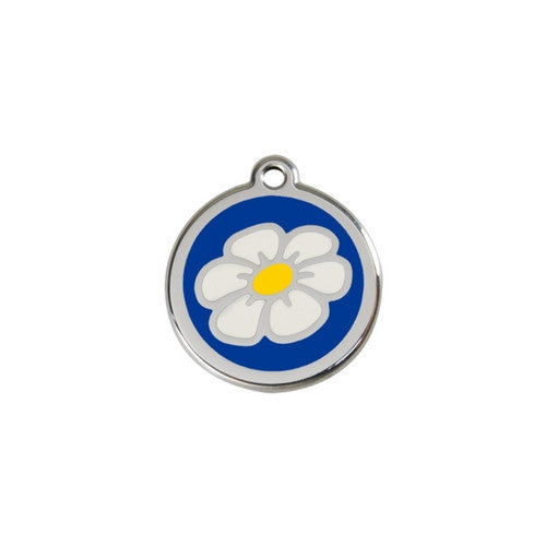 Red Dingo DAISY Engraved Stainless Steel Enamel Dog ID Tag Dark Small Blue