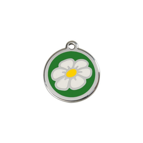 Red Dingo DAISY Engraved Stainless Steel Enamel Dog ID Tag Small Green