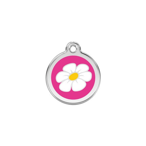 Red Dingo DAISY Engraved Stainless Steel Enamel Dog ID Tag Small Hot Pink