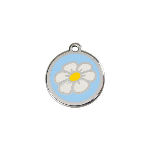 Red Dingo DAISY Engraved Stainless Steel Enamel Dog ID Tag Small Light Blue