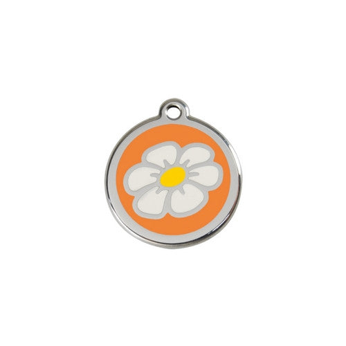 Red Dingo DAISY Engraved Stainless Steel Enamel Dog ID Tag Small Orange