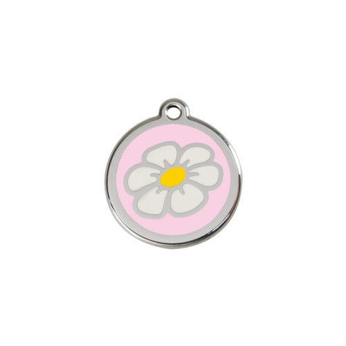 Red Dingo DAISY Engraved Stainless Steel Enamel Dog ID Tag Small Pink