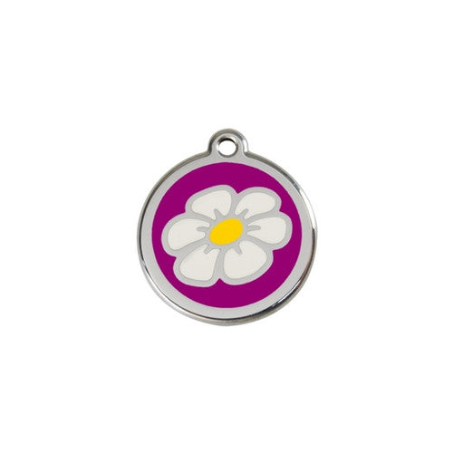 Red Dingo DAISY Engraved Stainless Steel Enamel Dog ID Tag Small Purple