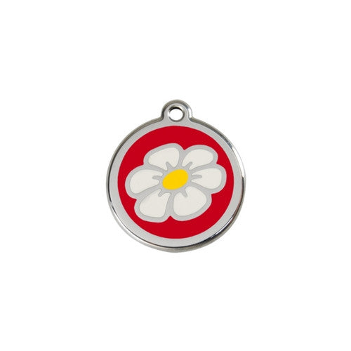 Red Dingo DAISY Engraved Stainless Steel Enamel Dog ID Tag Small Red
