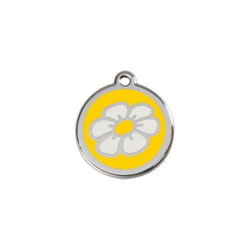 Red Dingo DAISY Engraved Stainless Steel Enamel Dog ID Tag Small Yellow