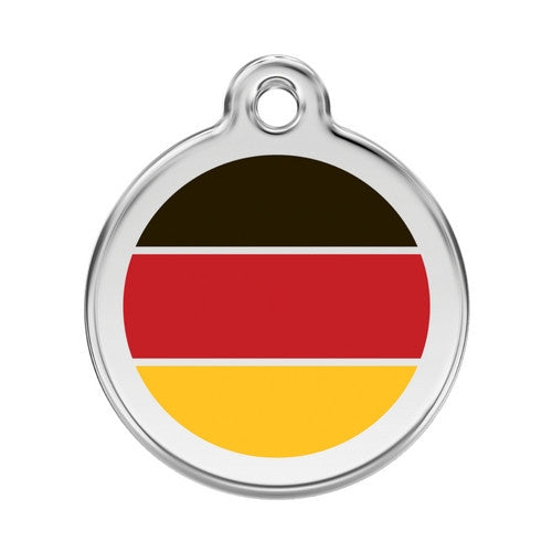 Red Dingo Enamel Stainless Steel National Flag Dog ID Tag Germany Large
