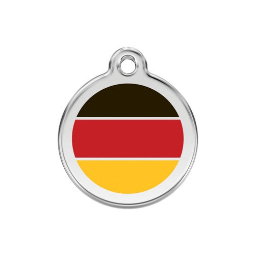 Red Dingo Enamel Stainless Steel National Flag Dog ID Tag Germany Medium