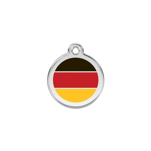 Red Dingo Enamel Stainless Steel National Flag Dog ID Tag Germany Small