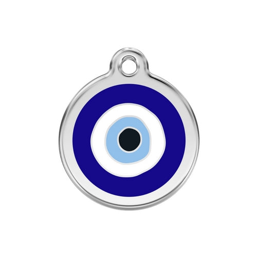 Red Dingo Evil Eye Blue Enamel Stainless Steel Dog ID Tag Medium