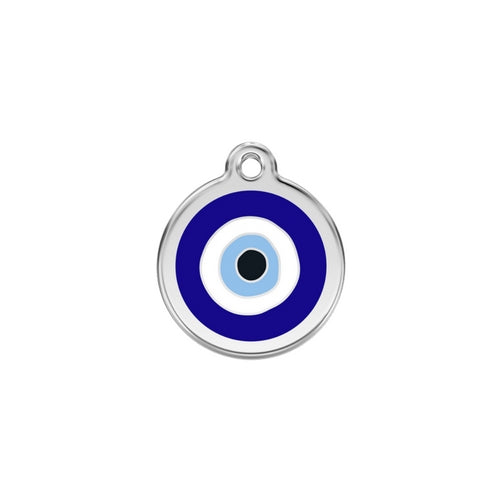 Red Dingo Evil Eye Blue Enamel Stainless Steel Dog ID Tag Small
