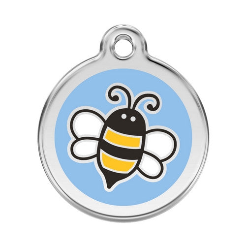 Red Dingo Bumble Bee Enamel Stainless Steel Engraved Dog ID Tag Large Light Blue
