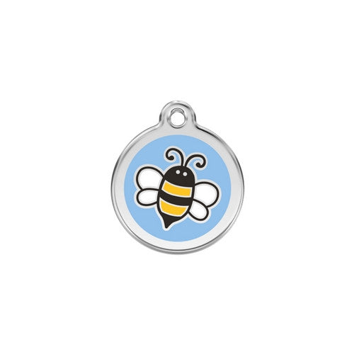 Red Dingo Bumble Bee Enamel Stainless Steel Engraved Dog ID Tag Small Light Blue