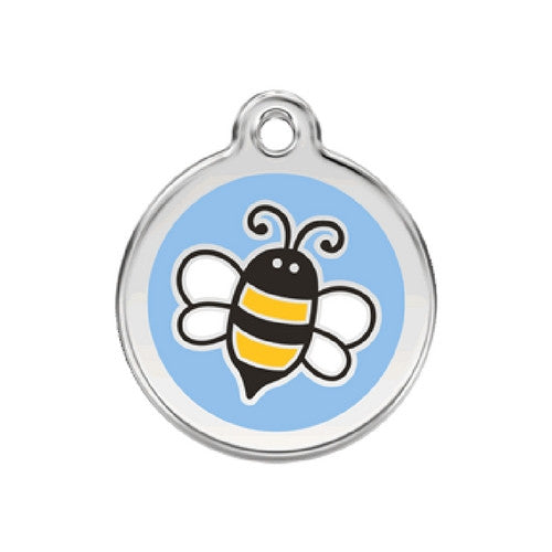 Red Dingo Bumble Bee Enamel Stainless Steel Engraved Dog ID Tag Medium Light Blue
