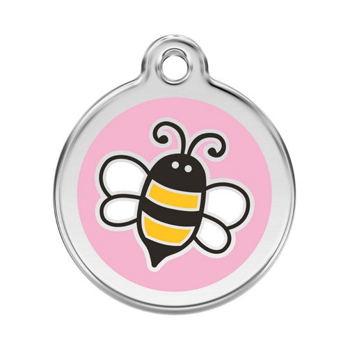 Red Dingo Bumble Bee Enamel Stainless Steel Engraved Dog ID Tag Large Pink