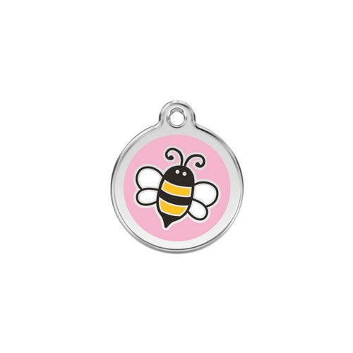 Red Dingo Bumble Bee Enamel Stainless Steel Engraved Dog ID Tag Small Pink