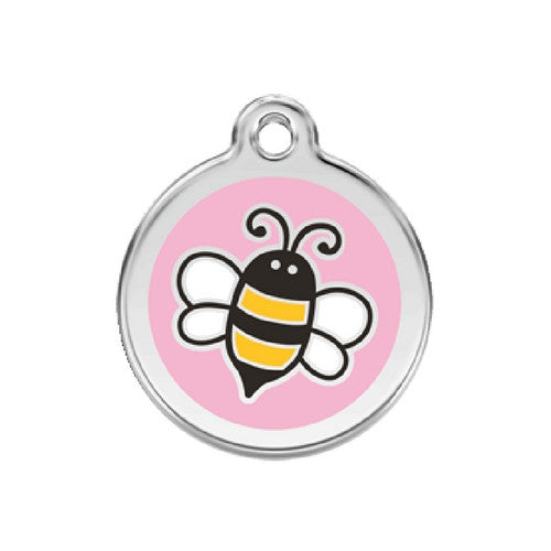 Red Dingo Bumble Bee Enamel Stainless Steel Engraved Dog ID Tag Medium Pink
