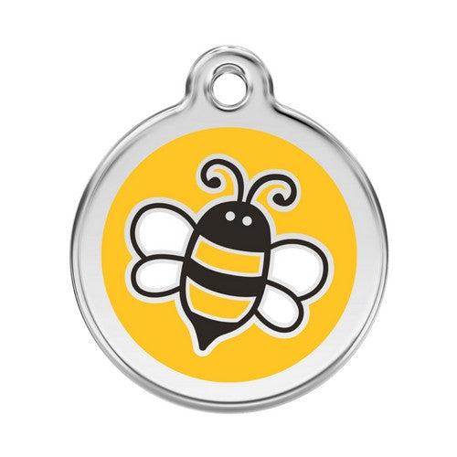 Red Dingo Bumble Bee Enamel Stainless Steel Engraved Dog ID Tag Large Yellow