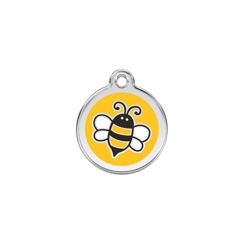 Red Dingo Bumble Bee Enamel Stainless Steel Engraved Dog ID Tag Small Yellow