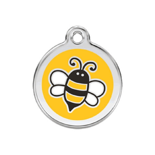 Red Dingo Bumble Bee Enamel Stainless Steel Engraved Dog ID Tag Medium Yellow