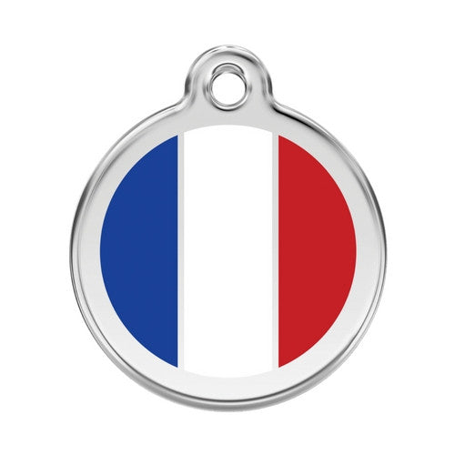 Red Dingo Enamel Stainless Steel National Flag Dog ID Tag France Large