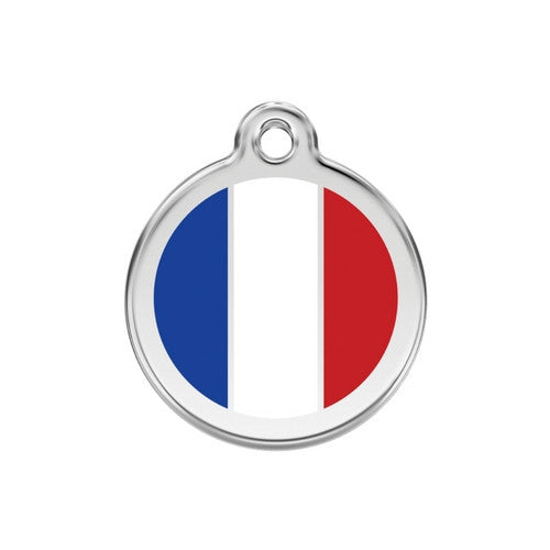 Red Dingo Enamel Stainless Steel National Flag Dog ID Tag France Medium