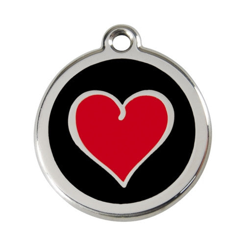 Red Dingo Heart Enamel Stainless Steel Dog ID Tag Black/Red Large