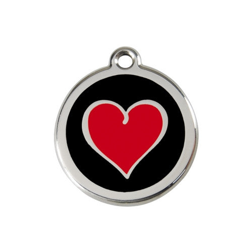Red Dingo Heart Enamel Stainless Steel Dog ID Tag Black/Red Medium