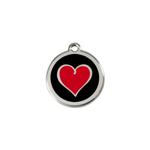 Red Dingo Heart Enamel Stainless Steel Dog ID Tag Black/Red Small