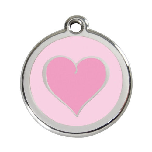 Red Dingo Heart Enamel Stainless Steel Dog ID Tag Pink/Pink Large