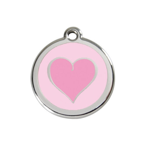 Red Dingo Heart Enamel Stainless Steel Dog ID Tag Pink/Pink Medium
