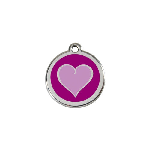 Red Dingo Heart Enamel Stainless Steel Dog ID Tag Purple / Purple Small