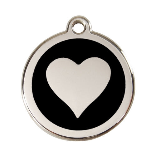Red Dingo Heart Enamel Stainless Steel Dog ID Tag Black Large
