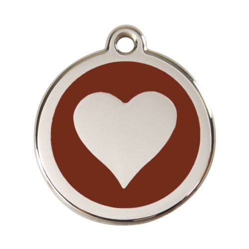 Red Dingo Heart Enamel Stainless Steel Dog ID Tag Brown Large
