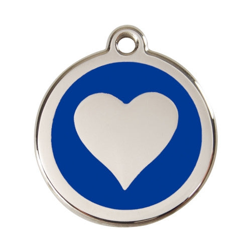 Red Dingo Heart Enamel Stainless Steel Dog ID Tag Dark Blue Large