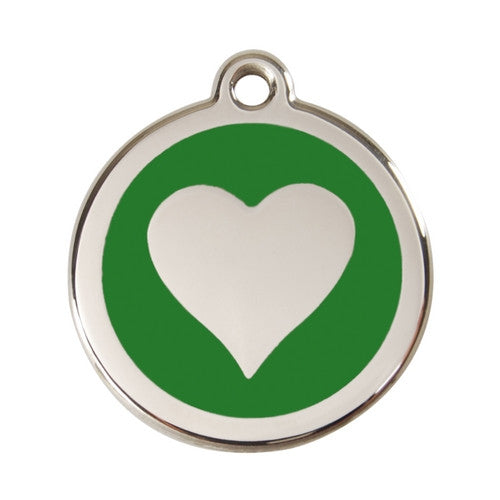 Red Dingo Heart Enamel Stainless Steel Dog ID Tag Green Large