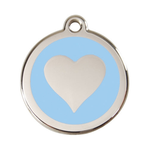 Red Dingo Heart Enamel Stainless Steel Dog ID Tag Light Blue Large