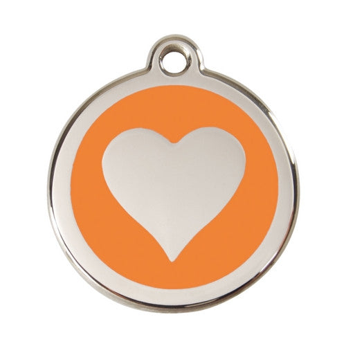 Red Dingo Heart Enamel Stainless Steel Dog ID Tag Orange Large