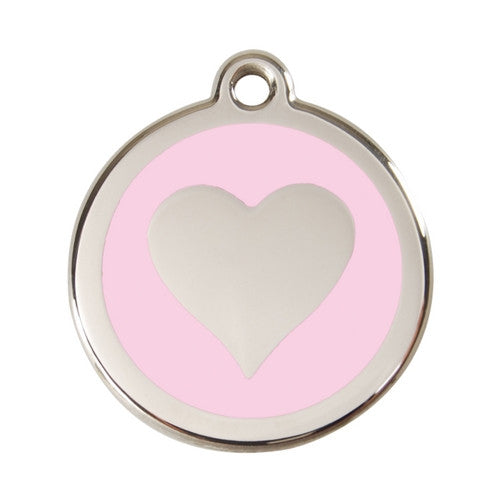 Red Dingo Heart Enamel Stainless Steel Dog ID Tag Pink Large