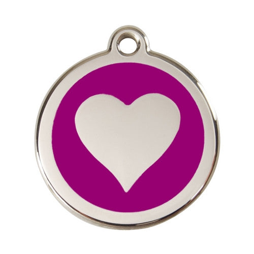 Red Dingo Heart Enamel Stainless Steel Dog ID Tag Purple Large