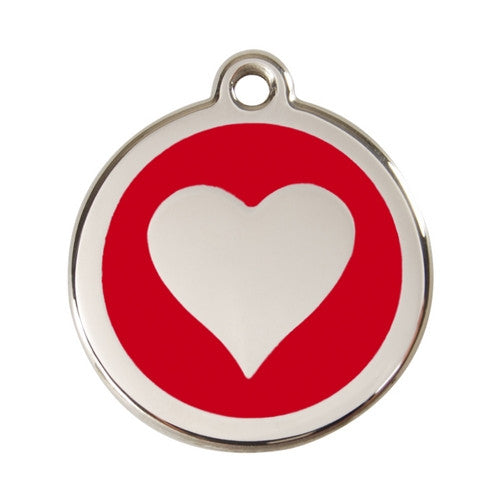 Red Dingo Heart Enamel Stainless Steel Dog ID Tag Red Large