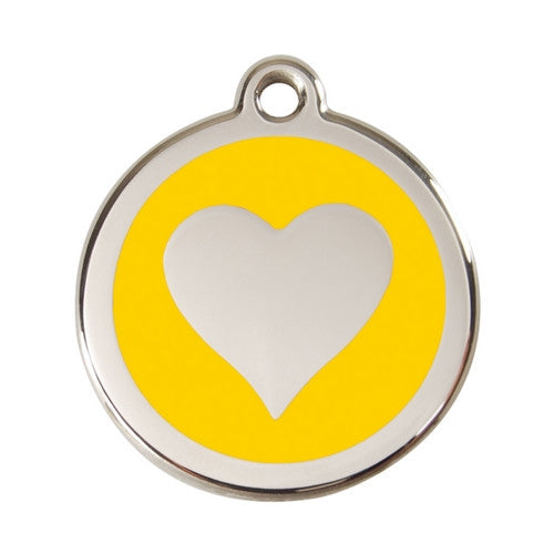 Red Dingo Heart Enamel Stainless Steel Dog ID Tag Yellow Large