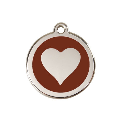 Red Dingo Heart Enamel Stainless Steel Dog ID Tag Brown Medium
