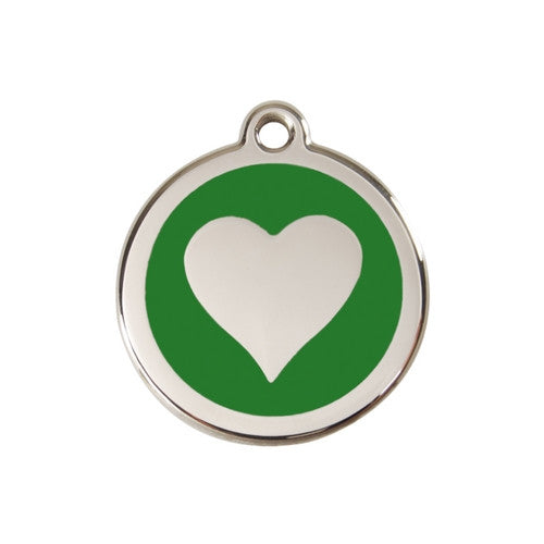 Red Dingo Heart Enamel Stainless Steel Dog ID Tag Green Medium